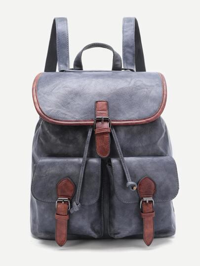 Grey Contrast Trim Buckle Design PU Backpack