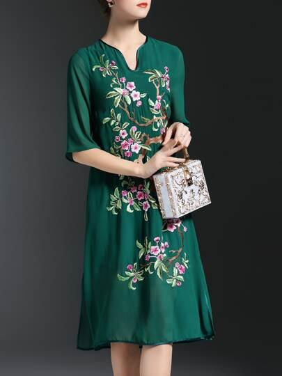 Green V Neck Flowers Embroidered Shift Dress