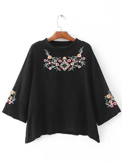 Black Flower Embroidered 3/4 Sleeve T-shirt