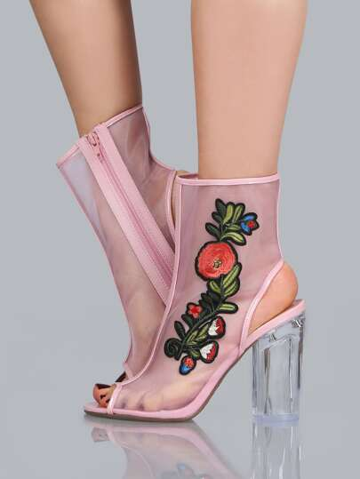 Embroidered Floral Mesh Booties PINK