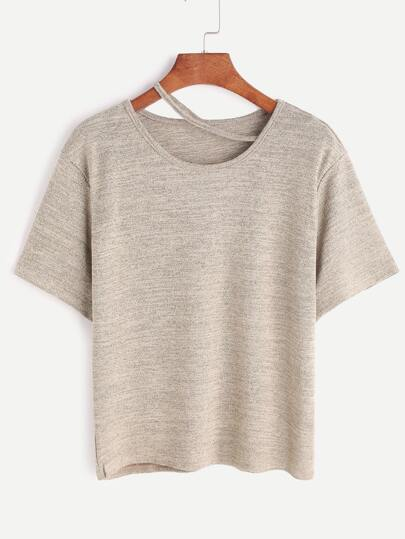 Khaki Strappy Neck Slub T-shirt