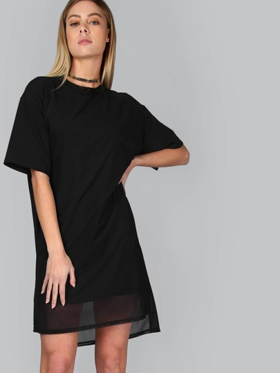 Mesh Overlay Shirt Dress BLACK
