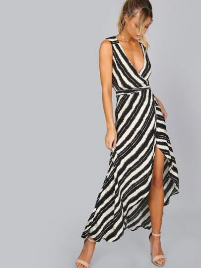 Stripe Cut Out Wrap Dress BLACK
