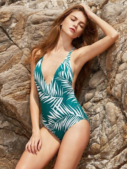 Leaf Print V Neck Open Back Bikini Set