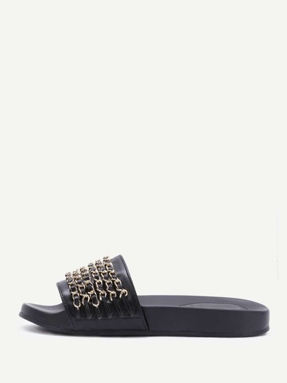 Black PU Slippers With Gold Chain Detail