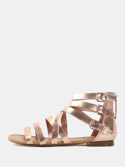 Metallic Strappy Gladiator Sandals ROSE GOLD