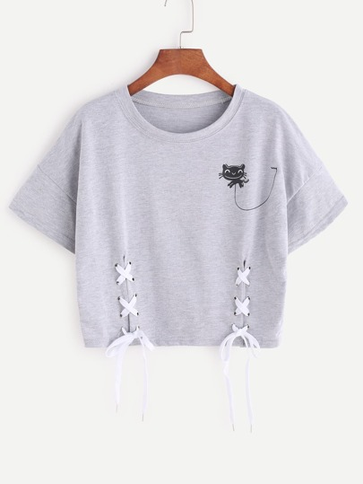 Heather Grey Cartoon Stampa Lace Up Side Crop T-shirt