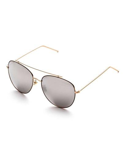 Silver Mirror Lens Double Bridge Sunglasses