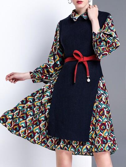 Navy Knit Split Vest Two-pieces Print Dress