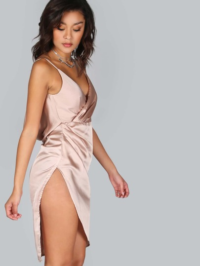 Satin Draped Wrap Dress TAUPE