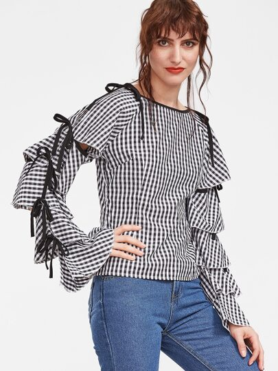 Gingham Plaid Tiered Bell Sleeve Bow Tie Blouse