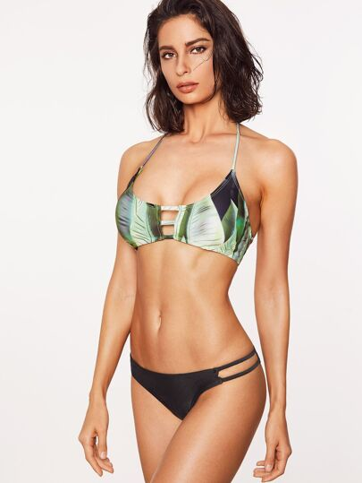 Green Leaf Print Cutout Mix & Match Bikini Set