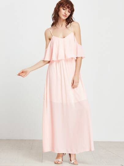 Pink Cold Shoulder Layered Fly Away Dress