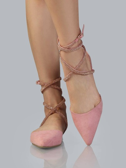 Pointed Toe Bejeweled Flats DUSTY PINK