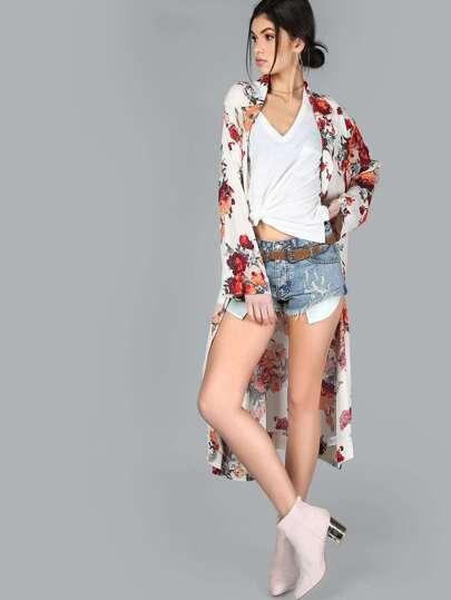Floral Long Sleeve Kimono IVORY