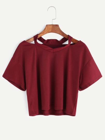 Бордовая модная футболка с разрезом