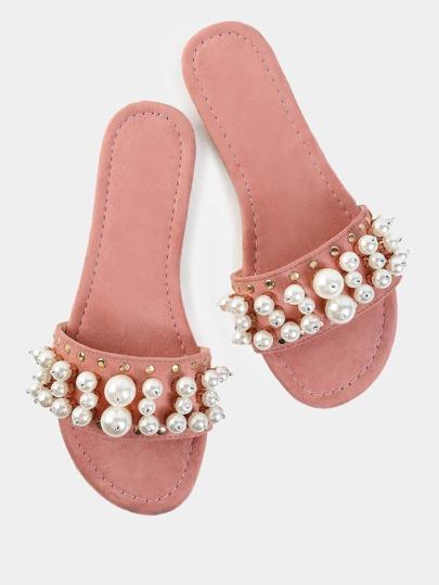 Sandalias de ante con perla de imitación