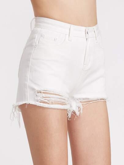 Ausgefranste Denim-Shorts - Weiss