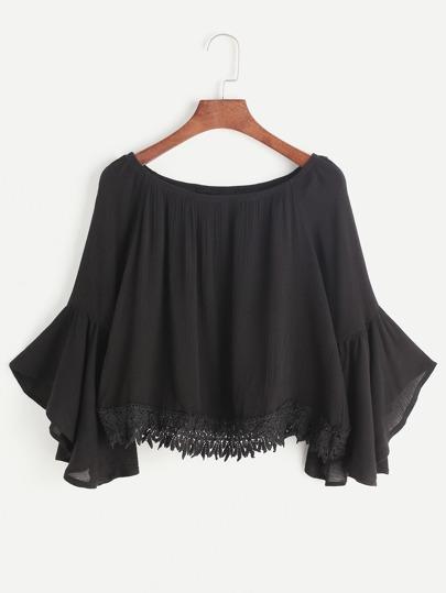 Black Boat Neck Bell Sleeve Contraste Crochet Hem Top