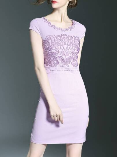 Purple Disc Flowers Sheath Dress