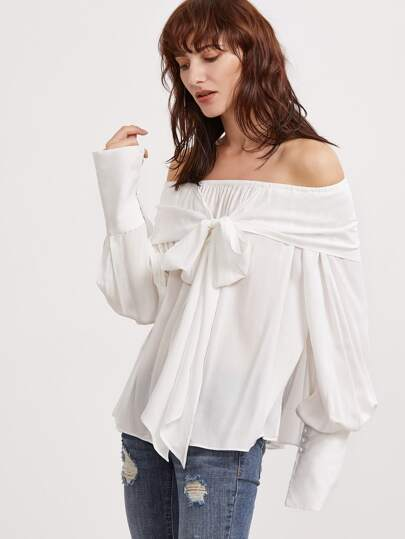 White Bow Tie Front Off The Shoulder Wide Buttoned Cuff Top