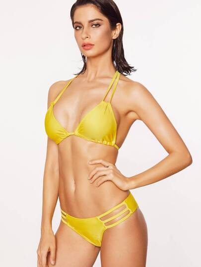 Yellow Cutout Detail Halter Bikini Set