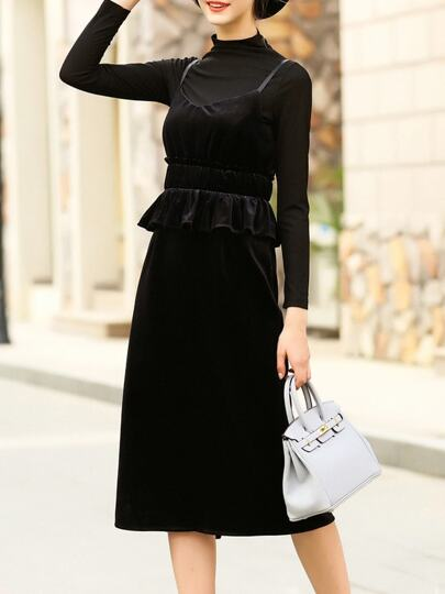 Black Spaghetti Strap Velvet Two-pieces T-shirt Dress