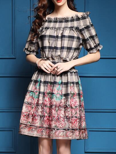 Vestido bordado de tartán de cintura elástica-kaki