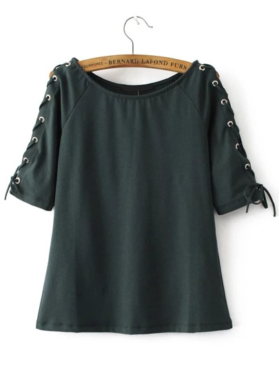 Army Green Eyelet Lace Up Sleeve T-shirt