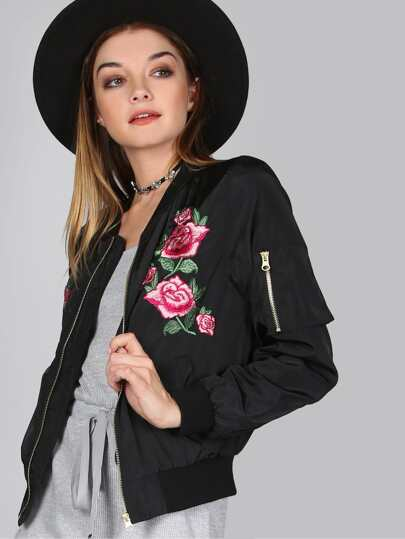 Floral Satin Finish Bomber Jacket BLACK