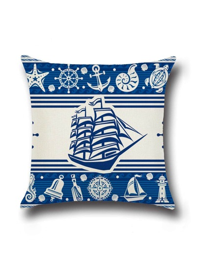 Blue Ship Print Cushion Cover