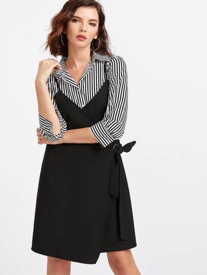 Black Spaghetti Strap Wrap Dress With Striped Blouse