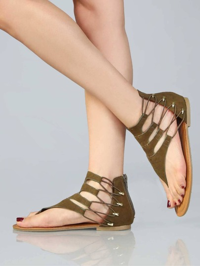 Metallic Accents Thong Sandals OLIVE