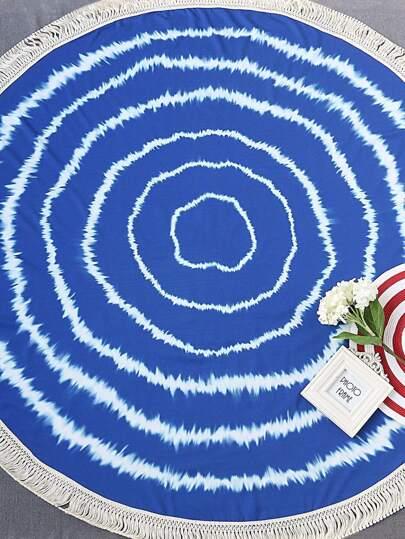 Manta playera redonda con estampado ribete con flecos - azul