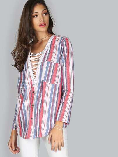Striped Lace Up Blouse MULTI