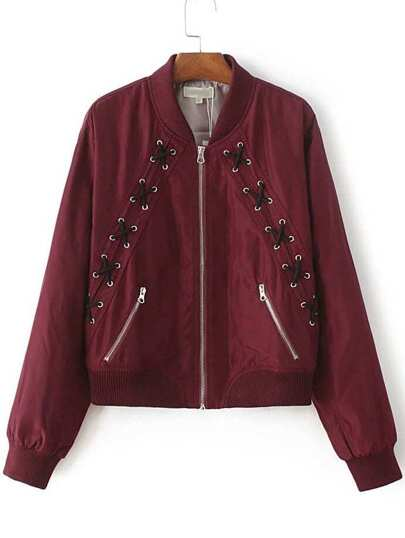 Burgundy Lace Up Design Zipper Jacket
