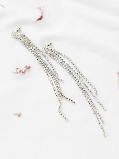 Silver Rhinestone Chain Stud Earrings