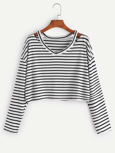 Nero Bianco Striped cut-out Neck T-shirt