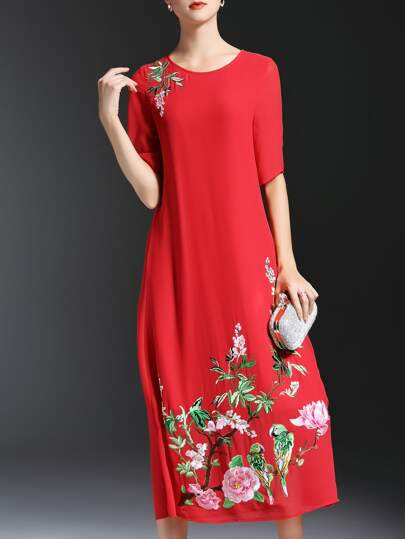Red Crew Neck Flowers Embroidered Dress