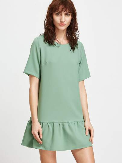 Green Zipper Back Drop Waist Dress