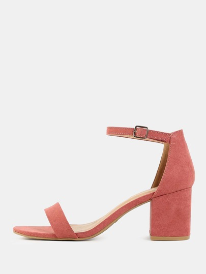 Imitation Suede Block Heels DARK MAUVE