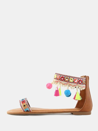 Neon Accent Open Toe Pom Pom Sandals COGNAC