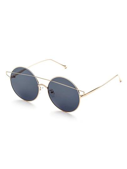 Gafas de sol redonda con doble puente - gris oscuro