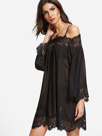 Black Floral Lace Trim Cold Shoulder Semi Sheer Dress