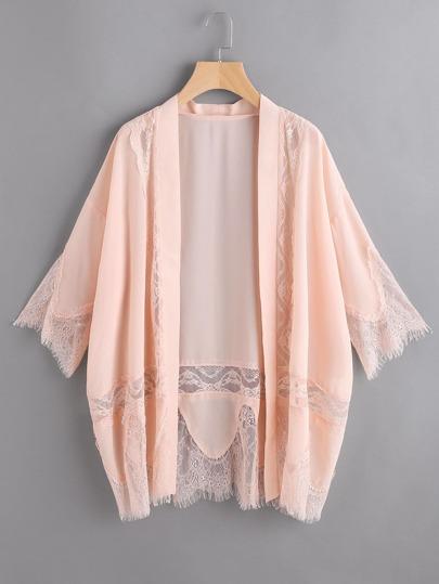 Kimono ribete con encaje de manga 3/4 - rosa