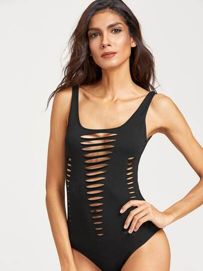 Black Double Scoop Ripped Bodysuit