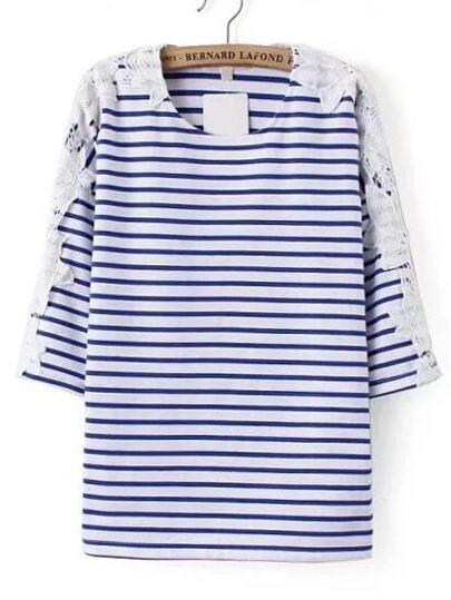 Blaues und weißes gestreiftes Kontrast-Spitze-T-Shirt