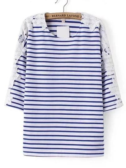 Blu e bianco a strisce pizzo a contrasto T-shirt
