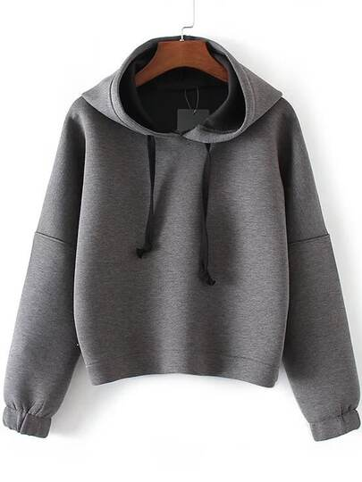 Grey Drop Shoulder Hooded Sweatshirt