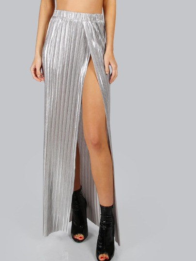 Pleated Metallic Maxi Skirt SILVER